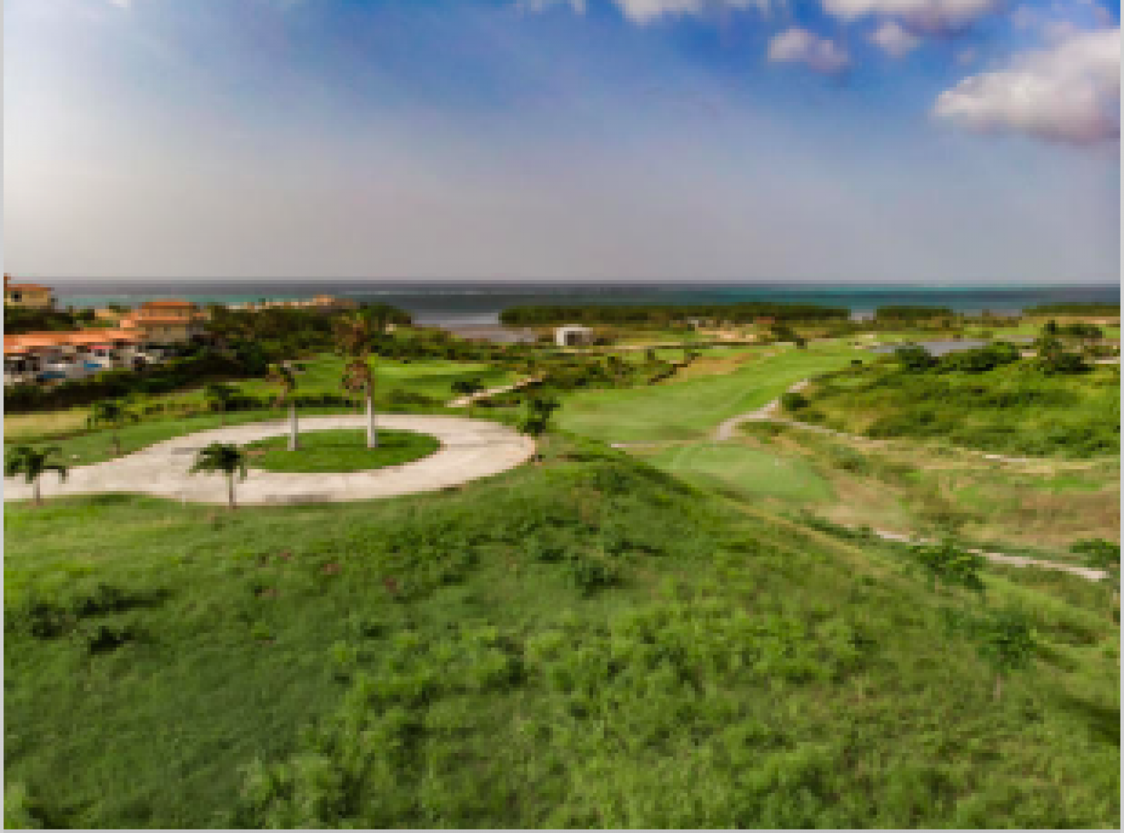 Paved roads and walk ways meandering throughout the golf course.