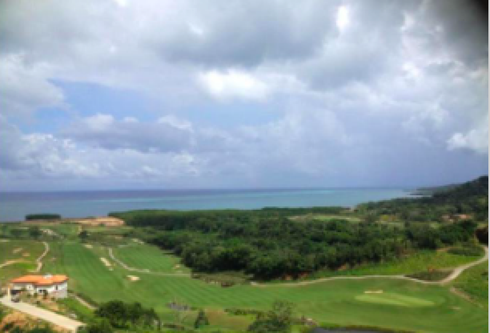 View of the golf course and Caribbean Sea