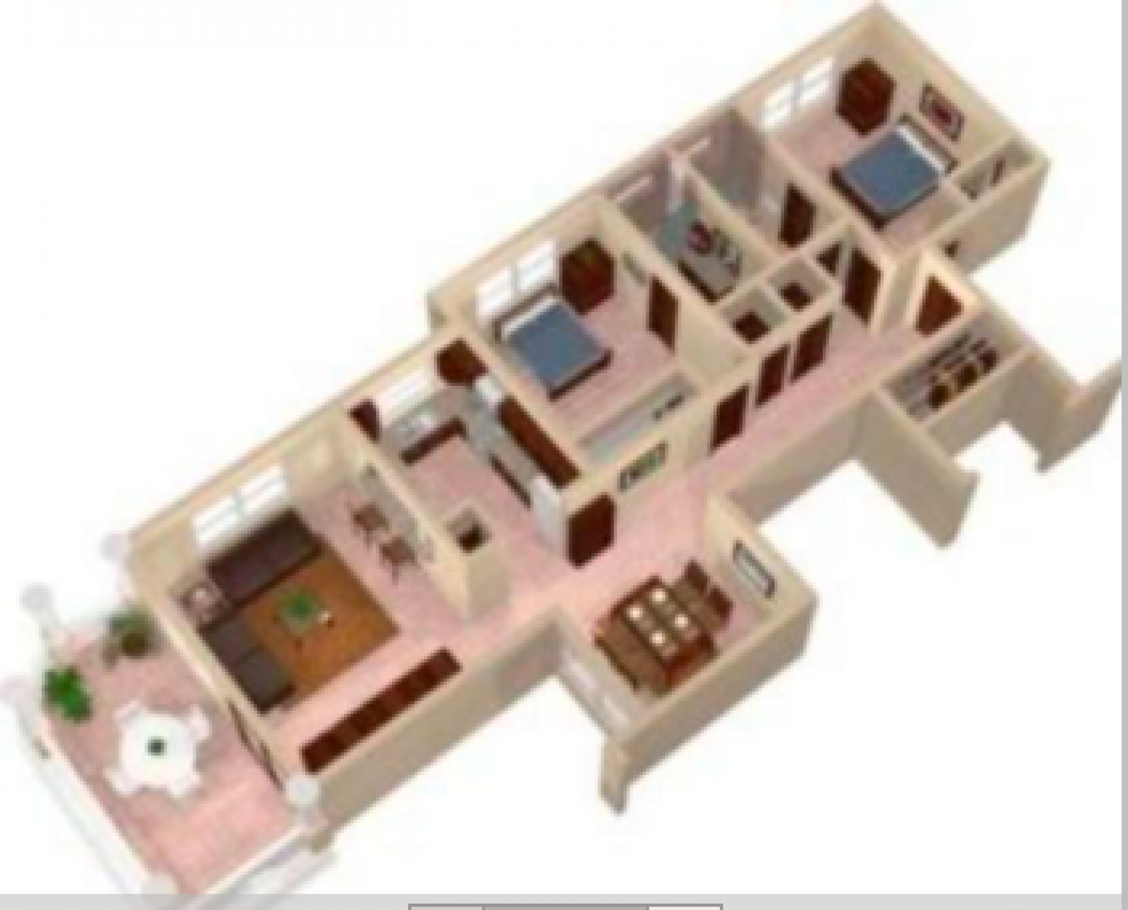 An architectural rendition of the unit's floor plan.