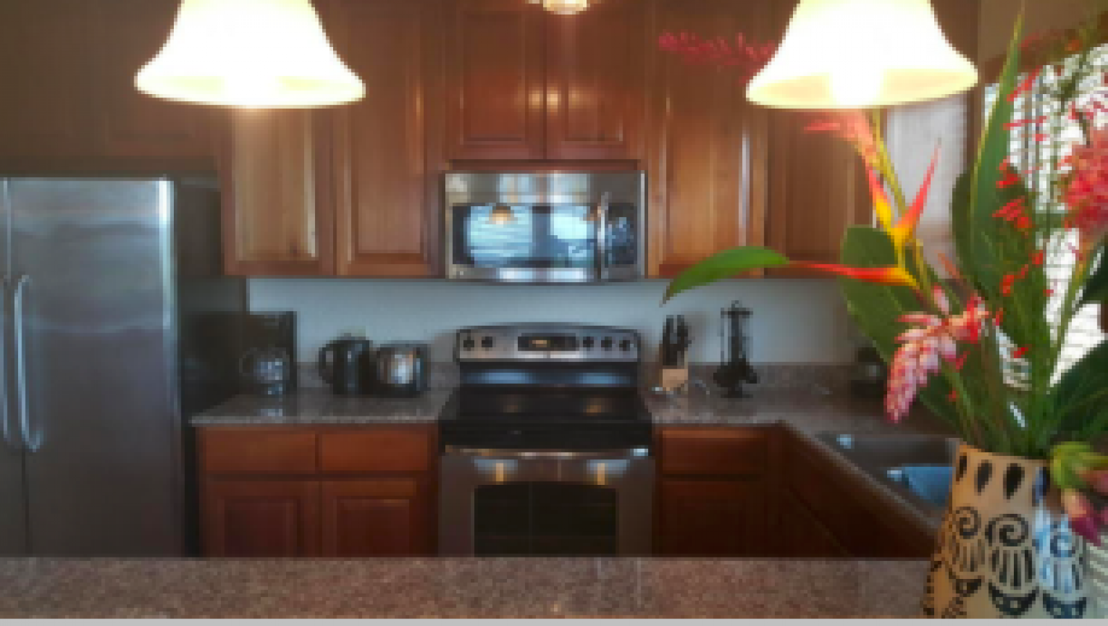 Fully equipped kitchen with high-end fixtures and fittings, appliances and granite countertops.