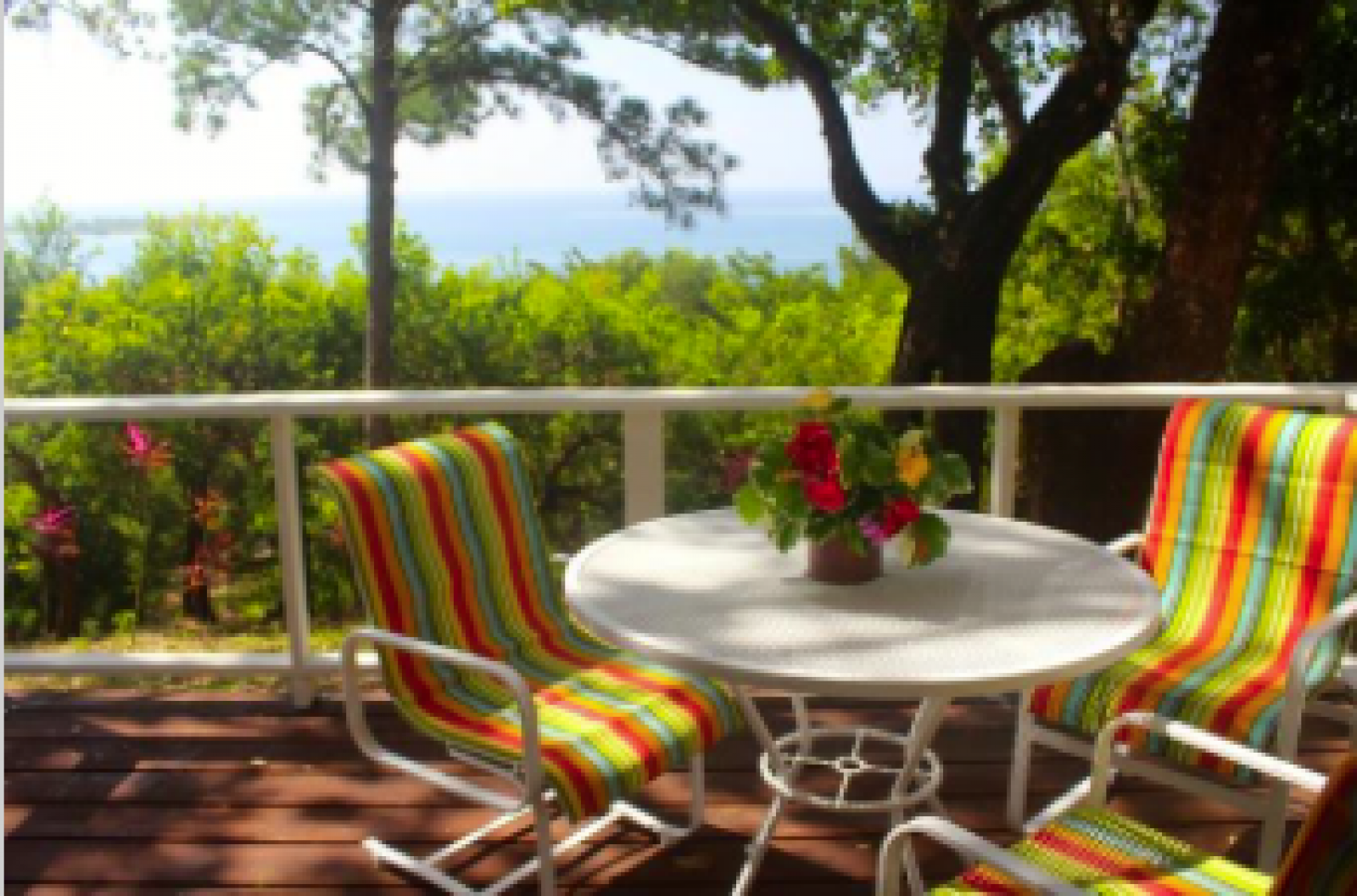Stunning views over the lush tropical gardens out to the Caribbean Sea.