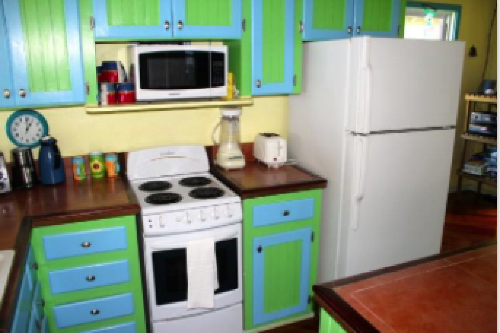 Modest but fully equipped kitchen.